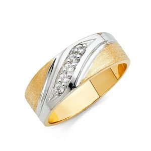 Other - New 14k yellow Gold Men's CZ Wedding Band